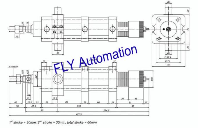 Special 3-position Pneumatic Actuator Cylinder For Cement