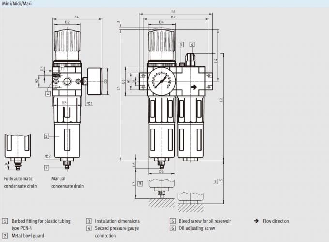 Air Control Air Pneumatic Regulator , White Drain Type