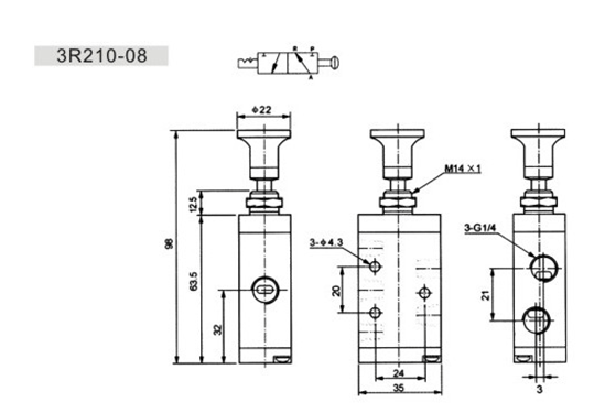 5-Way Spring Return Manual Directional Control Hand Draw Valve