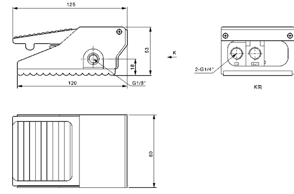 FV-420 Foot Operated Valve Direct Acting Three Way