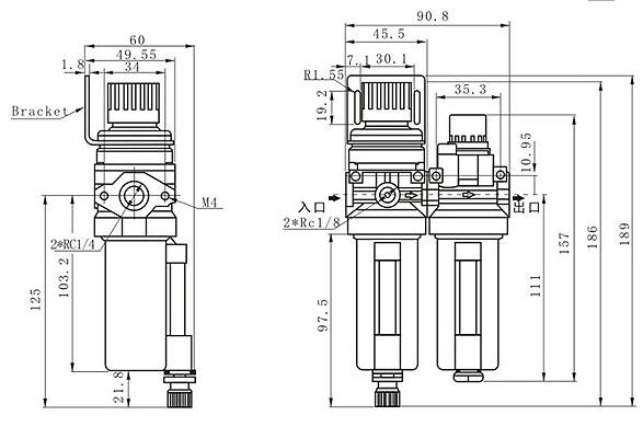Modular Filter Regulator And Lubricator G1/4
