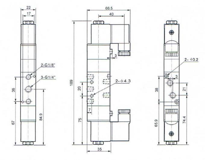 Close Type 5 way 3 position pneumatic valve , solenoid