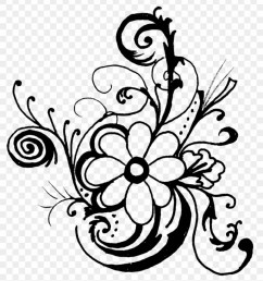 fancy lines clipart flowers clip art black and white border hd png download [ 840 x 949 Pixel ]