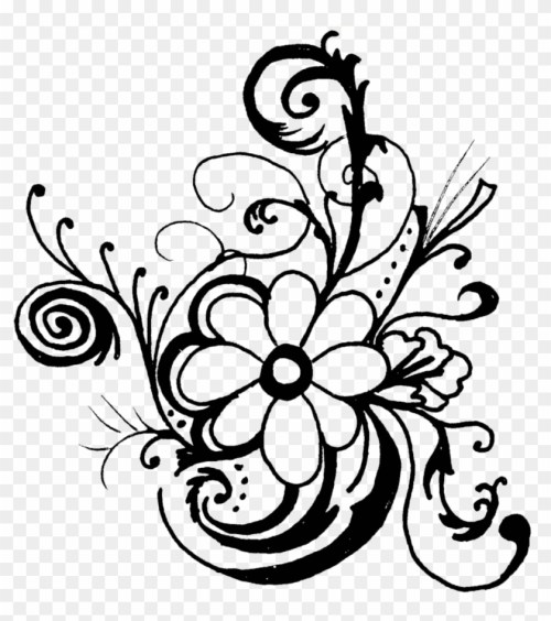 small resolution of fancy lines clipart flowers clip art black and white border hd png download