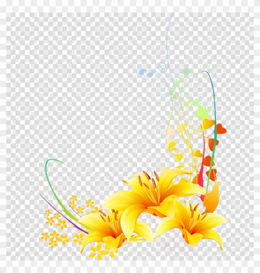 yellow vector clipart floral