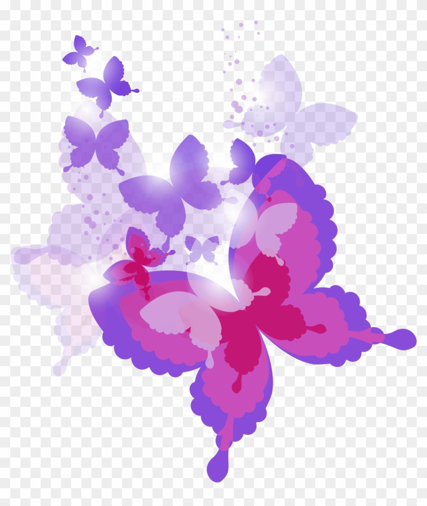 hight resolution of pink and purple butterflies clipart hd png download