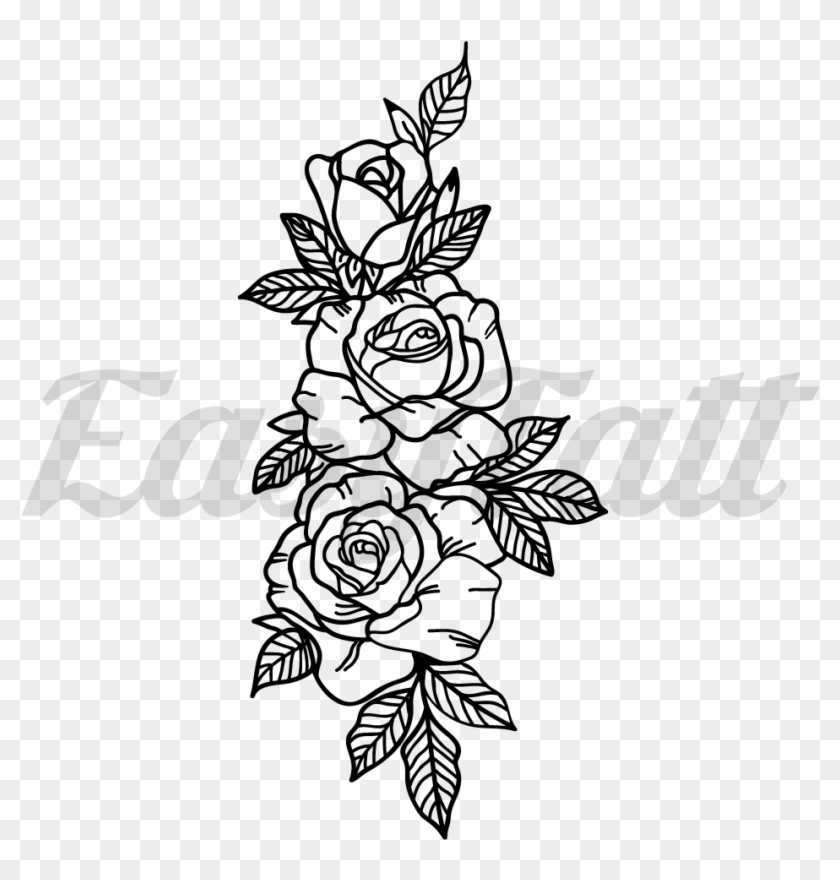 Roses Temporary Tattoo And Roses Fake Tattoos 3 Rose Tattoo