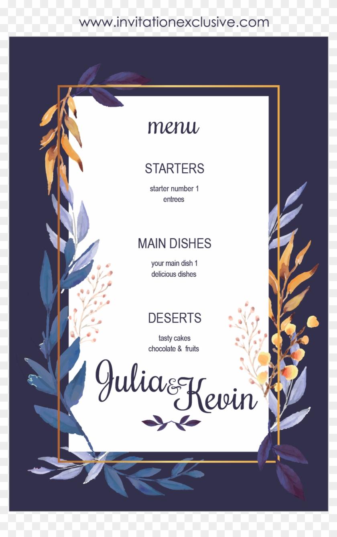 leaf blue frame wedding invitation card