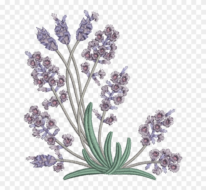embroidery pattern lavender flowers