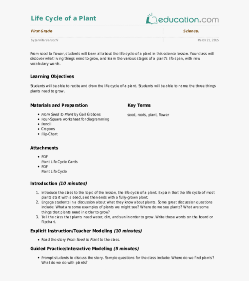 small resolution of Life Cycle Of A Plant Lesson Plan Education Com Lesson - Plant Life Cycle  Worksheet 3rd Grade
