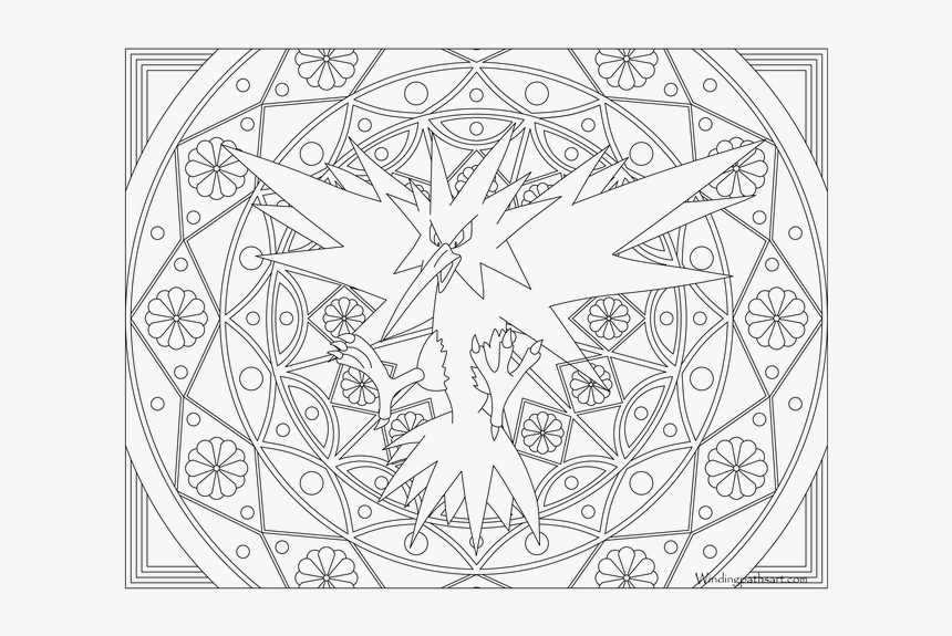 Zapdos Drawing Black And White Zapdos Legendary Pokemon Coloring Pages Hd Png Download Transparent Png Image Pngitem