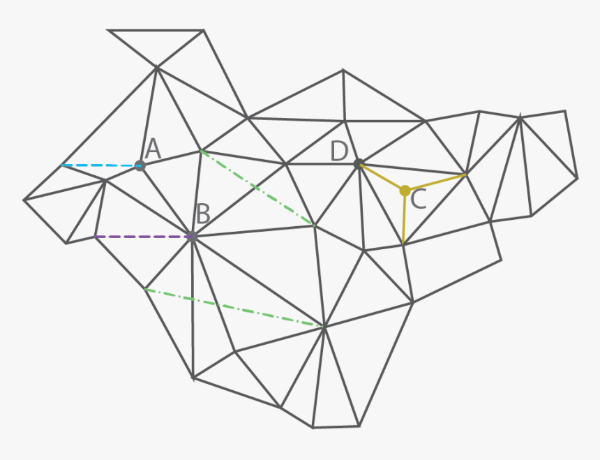 Mesh Or Graph Diagram With Nodes And Connections