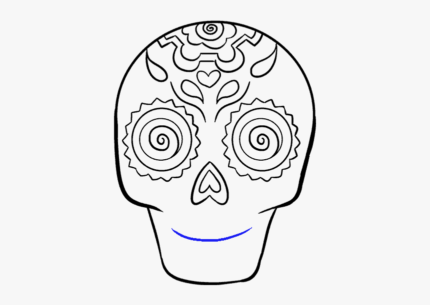 How To Draw Sugar Skull Easy To Draw Day Of The Dead Skull Hd Png Download Transparent Png Image Pngitem