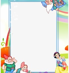 clipart free stock transparent kids png photo frame snow white and the seven dwarfs frame [ 820 x 1200 Pixel ]