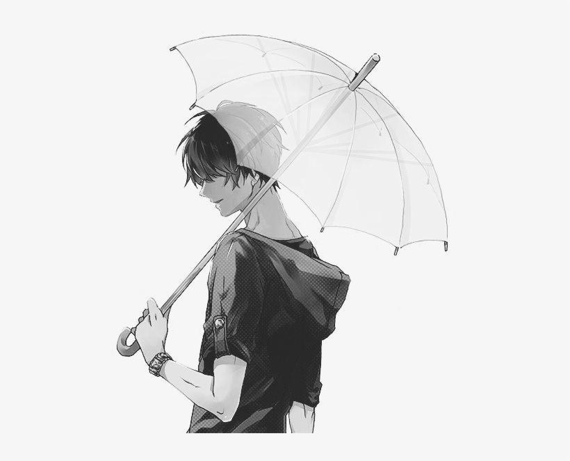monochrome anime guy holding