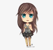 chibi girl with brown curly hair