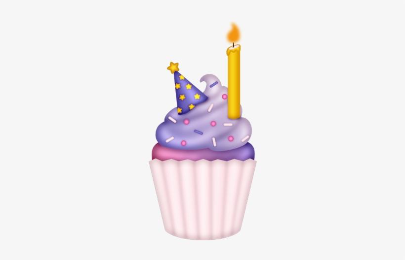 Purple Clipart Birthday Cupcake Cupcakes Dibujos Png Free