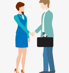 cartoon business man and woman shake hand free clip art business handshake [ 820 x 1009 Pixel ]