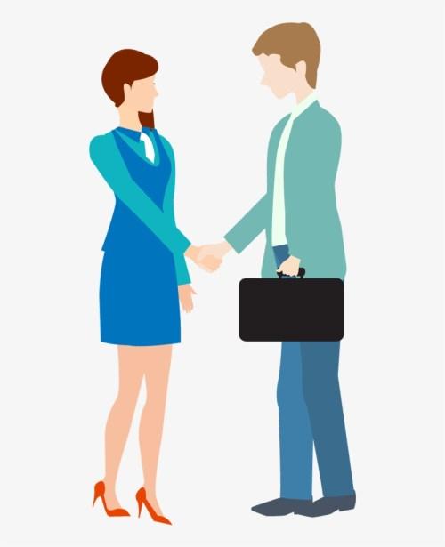 small resolution of cartoon business man and woman shake hand free clip art business handshake
