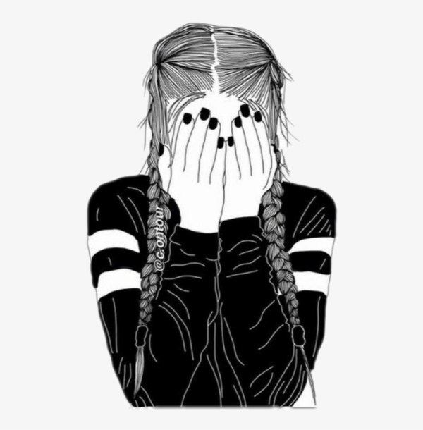 Girl Outline Freetoedit - Black And White Drawing Of Free Transparent
