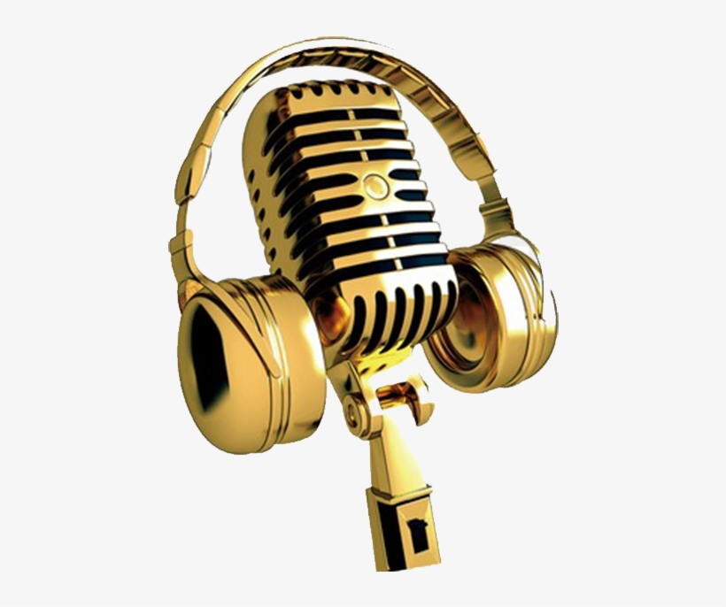 singing golden microphone png