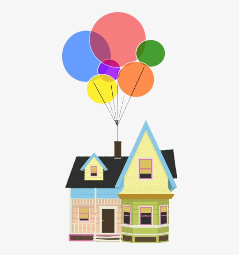 Up Movie Pixar Colorful Rainbow Home House Balloons House From Disney S Up Free Transparent Png Download Pngkey