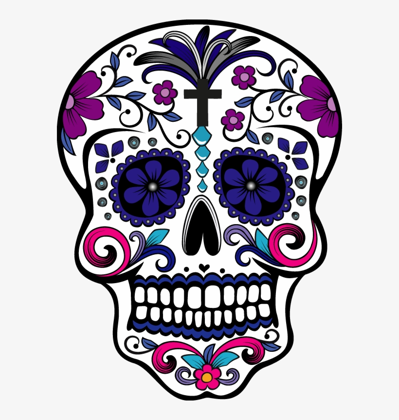 Sugar Skull And T Shirt Design With Illustration Day Of The Dead Art Skulls 586x782 Png Download Pngkit