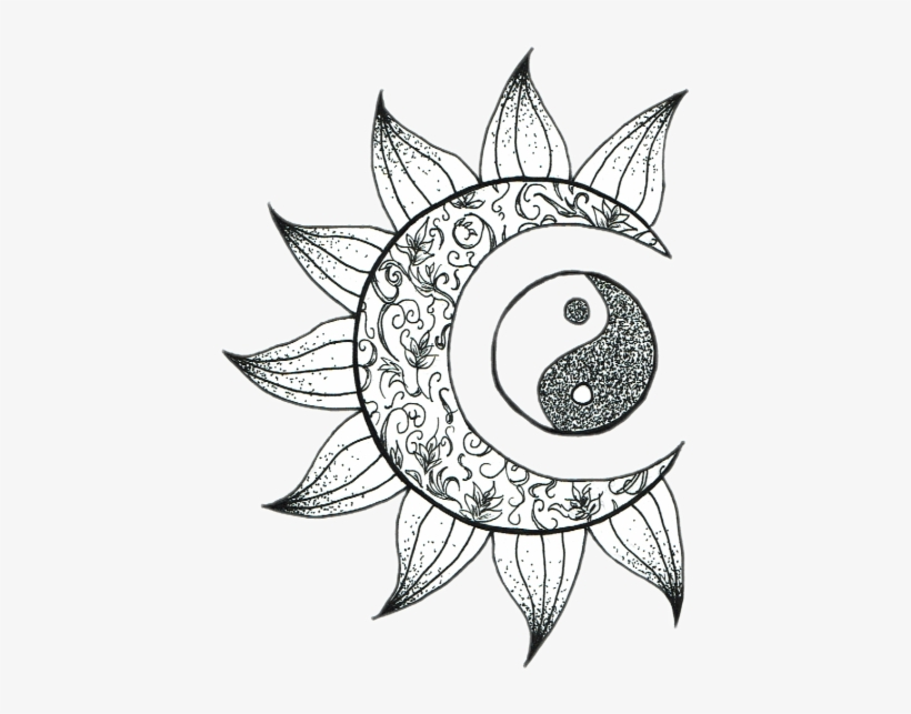 Tumblr Moon Sol Luna Sticker Png Tumblr Flower Moon Artsy Coloring