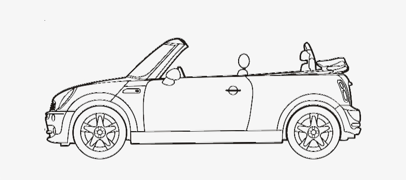 Black Outline Drawing Car White Cartoon Bmw Line Two