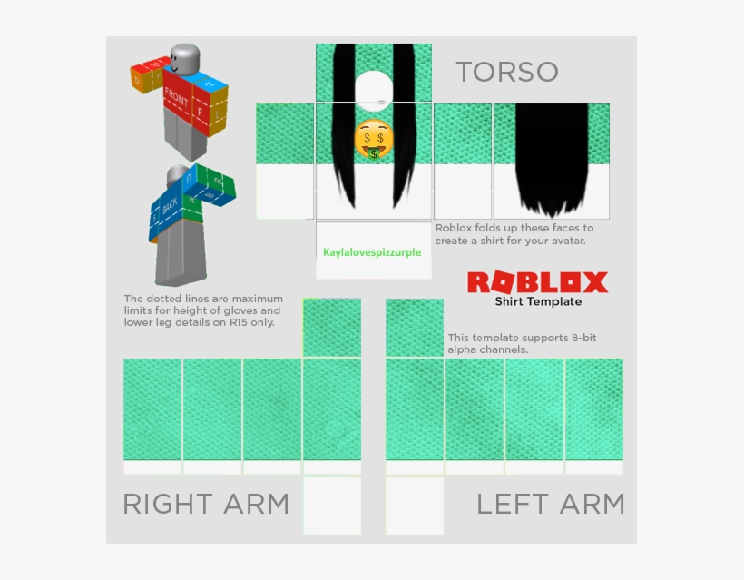 Download Transparent Girl Shirt Template Roblox The T Shirt - Roblox Shirt Template 2018 - PNGkit