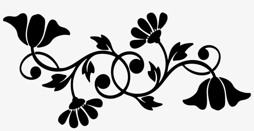 art: Black And White Flower Design Clip Art
