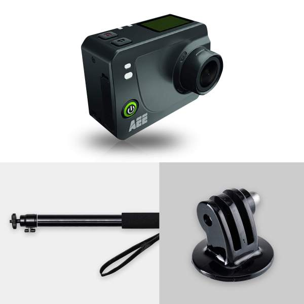 Caméra HD S60+ de AEE avec sa perche et un adaptateur