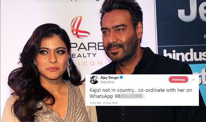 अजय देवगनले पत्नी काजोलको ह्वाट्सपको नम्बर ट्विटरमा शेयर गरेपछि