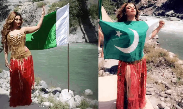 राखी सावन्तले पाकिस्तानी झण्डा बोकेर फोटो खिचाए पछि…