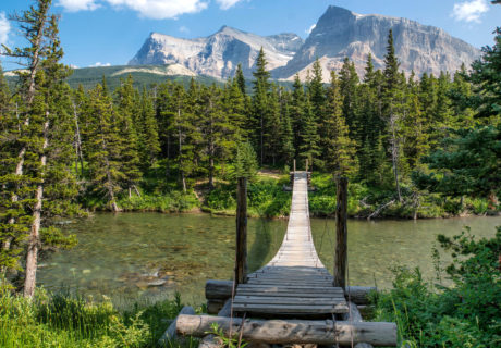 Many of the suspension bridges in Glacier National Park are installed seasonally.