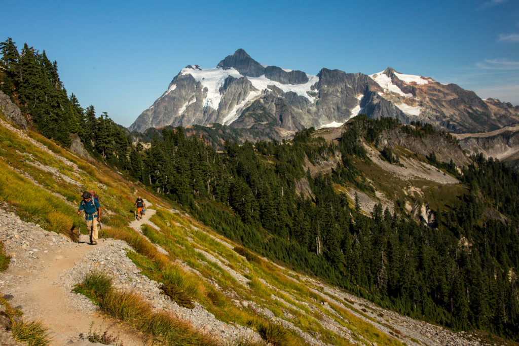 Hikers and Mount Shuksan
