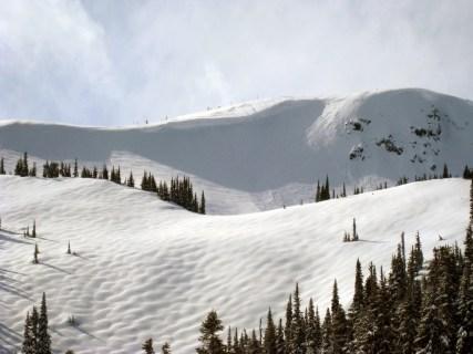 Cornice along a ridge
