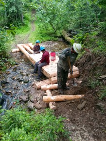 Crew leader Forest Reeves and his crew built two puncheon structures on the S Fork Silver Creek Trail