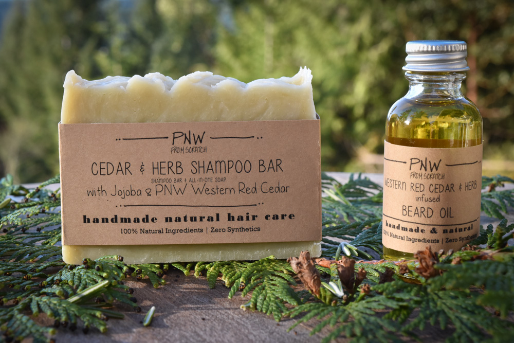 solid shampoo and beard oil
