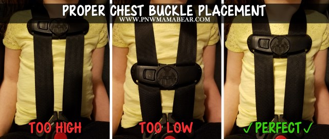 Proper placement for the CHEST buckle is even with the armpits. --PNW MAMA BEAR--