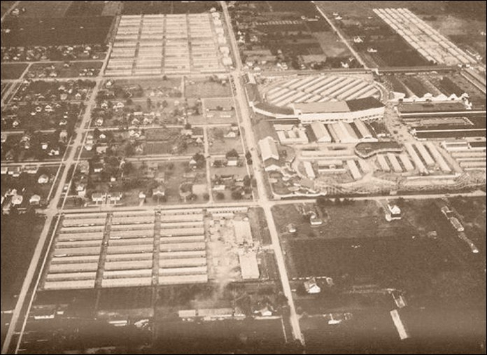 Puyallup Assembly Center. Aerial photograph in Final report, Japanese evacuation from the West coast, 1942. Washington D.C.: U.S. Government Printing Office, 1943, pg. 174.
