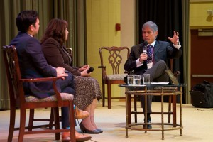 Bishop Grant Hagiya speaking during a TEDx-like conversation with Bishop Minerva Carcaño and Rev. DJ del Rosario.