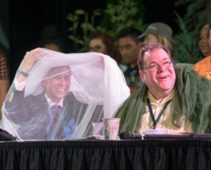 "From left: Bishop Grant Hagiya and the Rev. Jon Short were ""netted"" to raise funds for INM at the PNW Annual Conference."