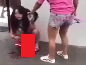 【衝撃】可愛い女の子、「ヤリマン」だという理由で街でこんな事になる(動画)