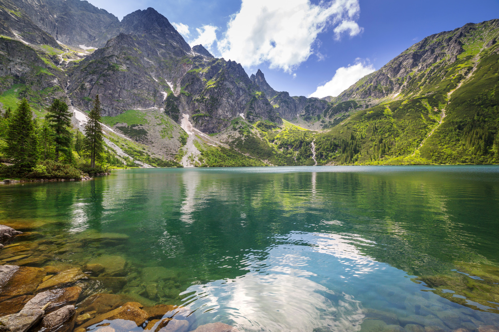 Beautiful scenery of Tatra mountains and lake in Poland