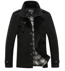 Stand-Collar Single-Breasted Coat