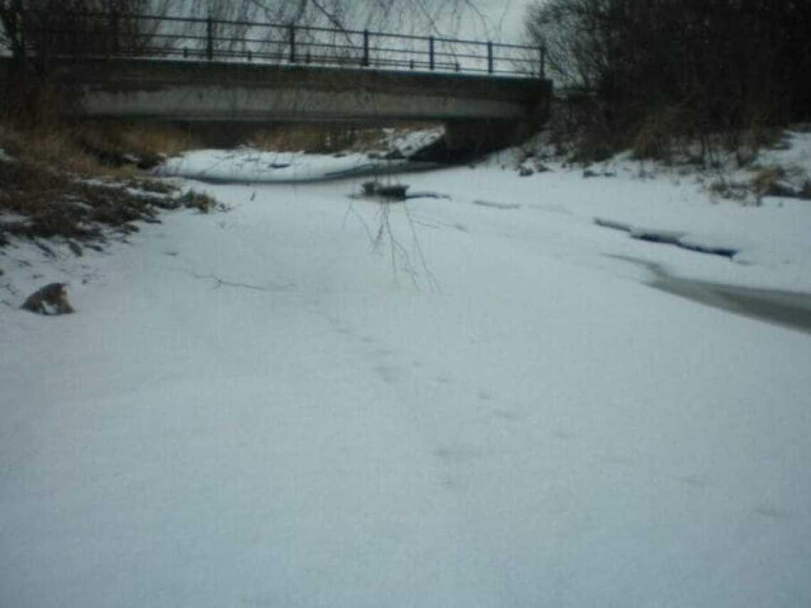 Led na potoce, únor 2012