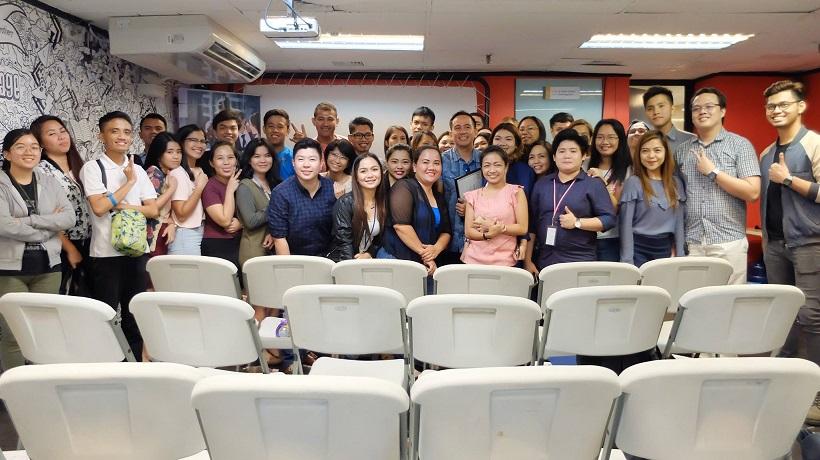 with workshop participants