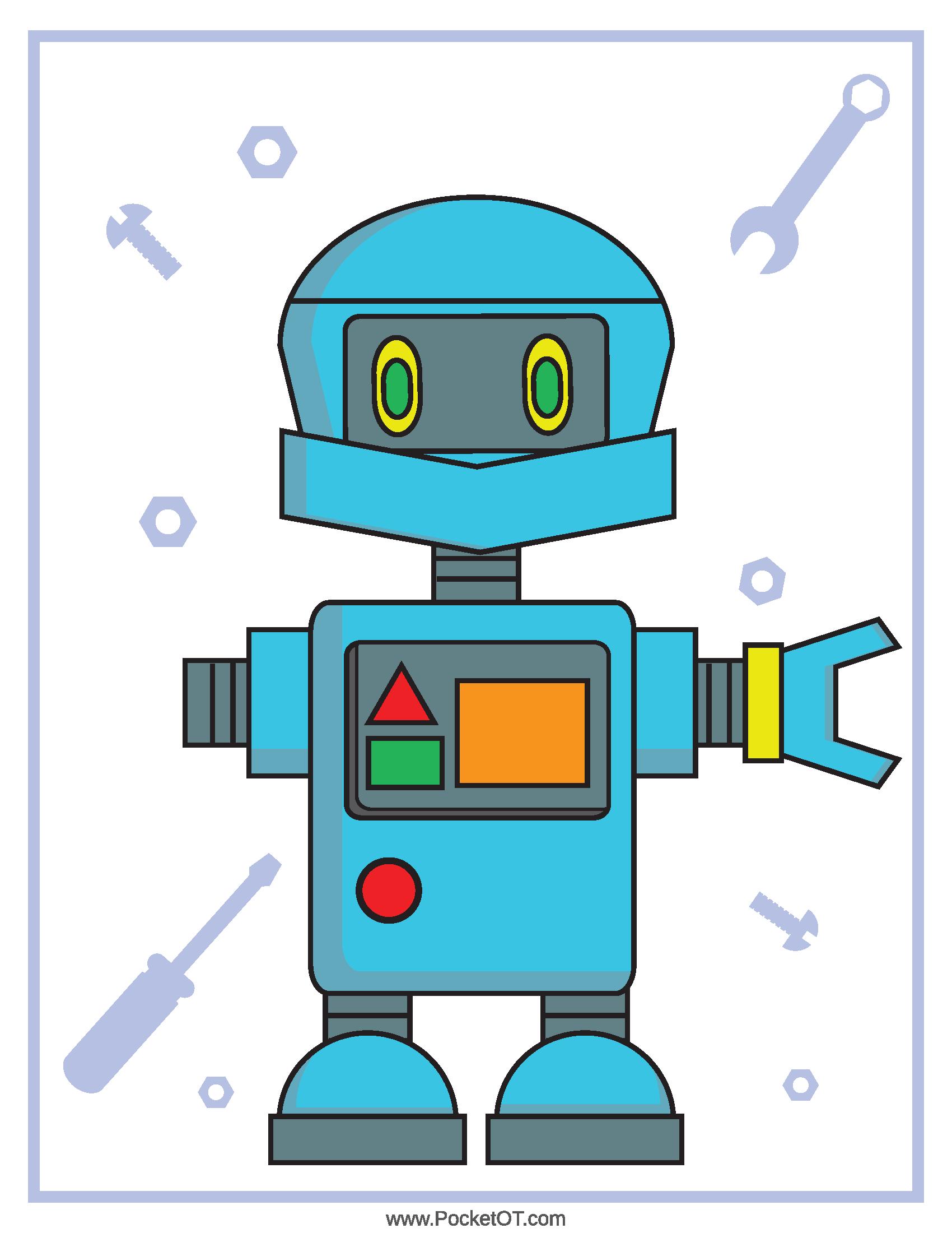 Robot Fine Motor Visual Skills Playdough Mats