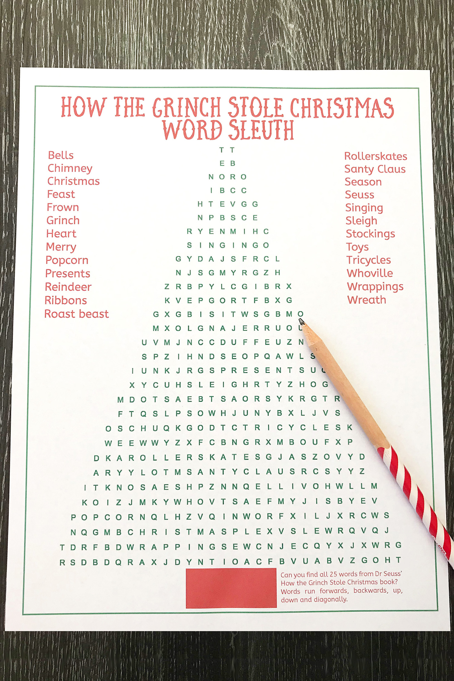 Grinch Word Search Holiday Puzzle